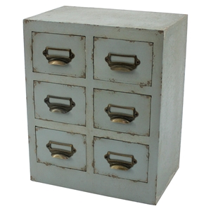 Distressed 6-Drawer Table Top Cabinet (Set of 4)