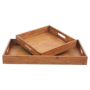 2-Piece Wood Tray (Set of 2)