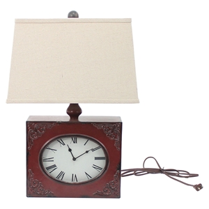 Clock Table Lamp - Red (Set of 2)