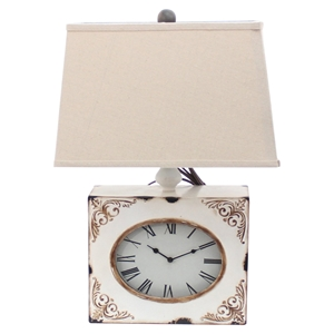 Clock Table Lamp - White (Set of 2)