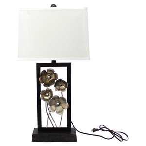"28""H Table Lamp - White Shade, Black Base"