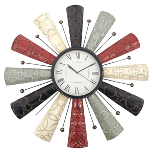 Wall Clock - Multi-Color, Metal Frame (Set of 4)