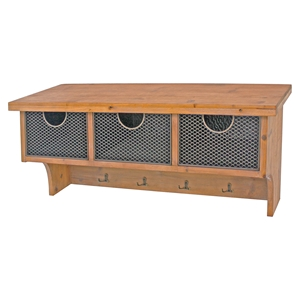 Wood Wall Shelf - 4 Hooks, 3 Compartments
