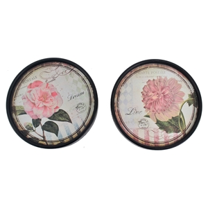 2 Round Plate Wall Decor - Black Frame (Set of 6)