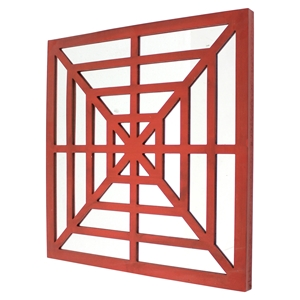 Square Mirror Wall Decor - Red (Set of 2)