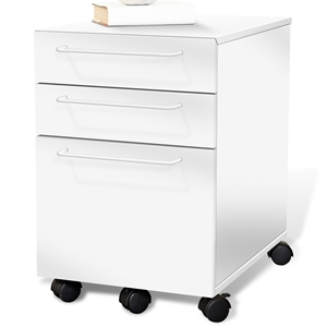 3-Drawer Mobile Pedestal - White