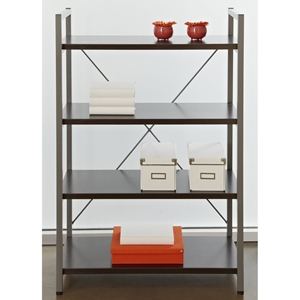 4-Shelf Bookcase - Metal Frame, Espresso
