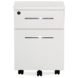 Pearl Office White Lacquer Mobile Pedestal