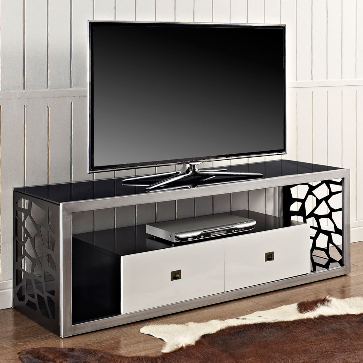 Modern Mosaic 60 Inch Steel Tv Stand Brushed Silver 2 Drawers Wal