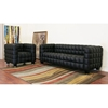 Arriga Black Leather Modern Sofa - WI-0717-SOFA