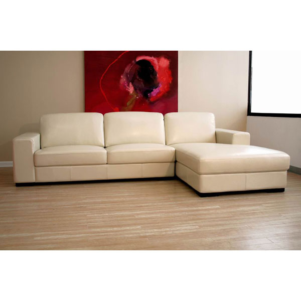 cream leather sectional sofa wi