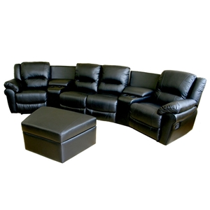 Majestic Curved Row Leather Home Theater Seating - Black