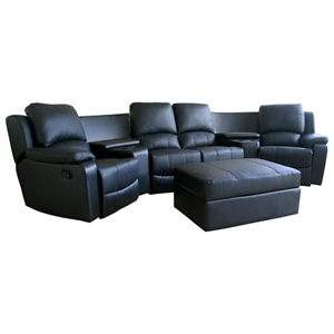 Paramount Curved Row Leather Home Theater Seating - Black