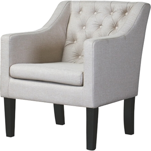 Brittany Club Chair - Button Tufted, Beige