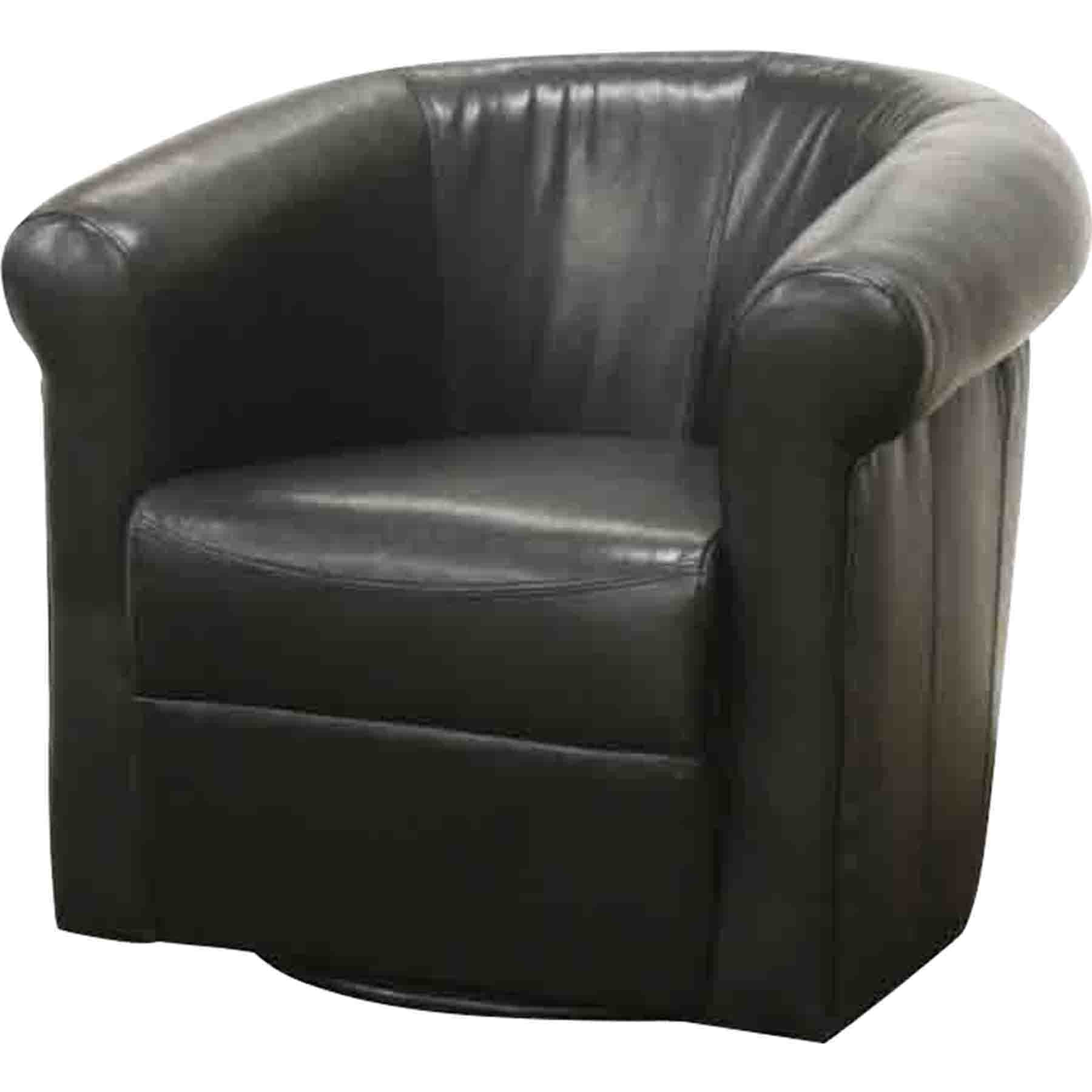 Picture of: Julian Faux Leather Swivel Club Chair Black Brown Dcg Stores