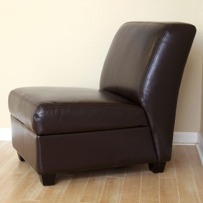 Luther Dark Brown Full Leather Armless Club Chair Wi A 85 001