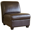 Luther Dark Brown Full Leather Armless Club Chair - WI-A-85-001