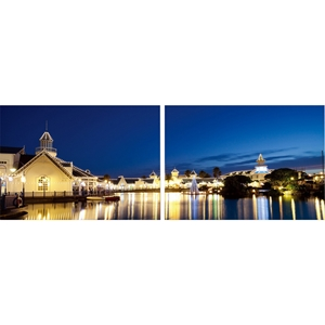 Port Elizabeth Nightlife Mounted Photography Print Diptych - Multicolor