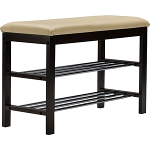 Langella Bench - 2 Tiers Shoe Rack, Dark Brown
