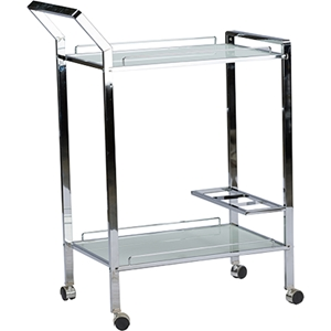 Contino Metal Tempered Glass Serving Trolley - Chrome