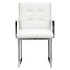 Collins Mid-Century Chair - Ivory Leather, Chrome Steel Legs - WI-ALC-1128-WHITE
