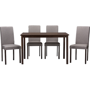 Andrew Contemporary 5-Piece Dining Set - Espresso Wood, Gray Fabric