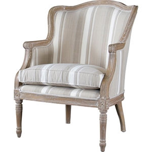 Charlemagne Accent Chair - Beige, Brown Oak