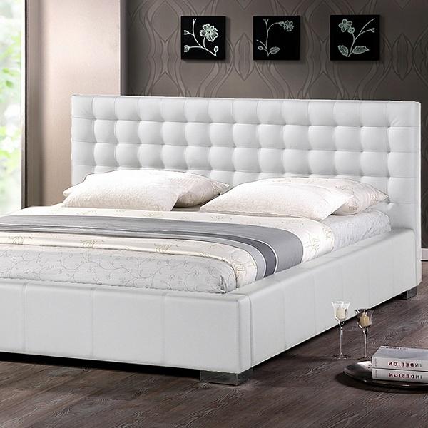 Madison King Platform Bed Square Tufts Metal Legs White Wi Bbt6183