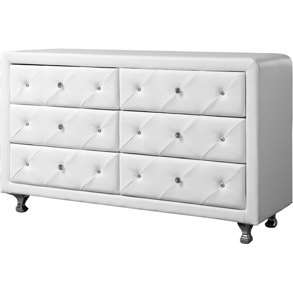 Luminescence Faux Leather Dresser 6 Drawers White Wi Bbt2030