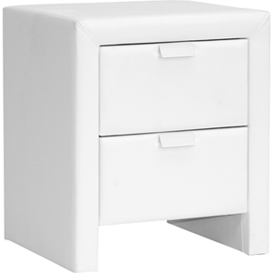 Frey Faux Leather Nightstand - 2 Drawers, White