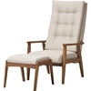 Roxy Upholstered High Back Chair - Ottoman, Light Beige