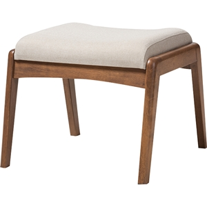 Roxy Upholstered Ottoman - Light Beige