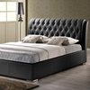 Bianca Queen Platform Bed - Diamond Tufts, Metal Legs, Black - WI-BBT6203-BLACK-BED