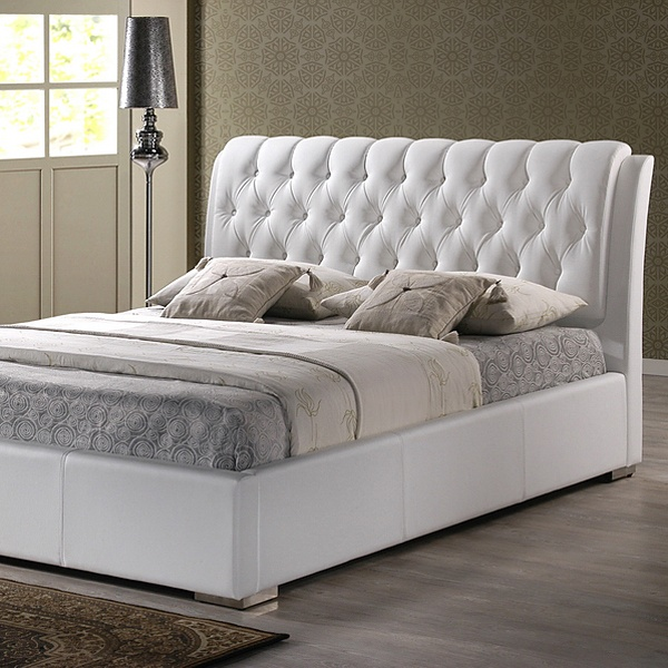 Bianca Queen Platform Bed Diamond Tufts Metal Legs White Wi Bbt6203