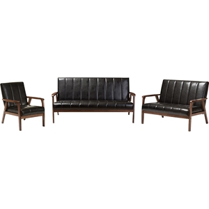 Nikko 3-Piece Living Room Set - Black