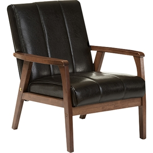 Nikko Faux Leather Lounge Chair - Black