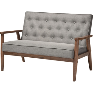 Sorrento Faux Leather Loveseat - Button Tufted, Gray