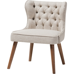 Scarlett Upholstered Nailhead Accent Chair - Button Tufted, Light Beige