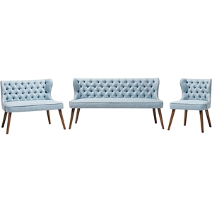 Scarlett 3-Piece Upholstered Nailhead Sofa Set - Button Tufted, Light Blue