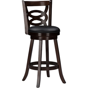 "Anthea 29"" Swivel Bar Stool - Brown Upholstered Seat, Espresso Frame (Set of 2)"