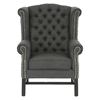 Sussex Wingback Club Chair - Button Tufts, Nail Heads, Gray Linen - WI-BH-201213-GRAY-AC