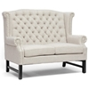 Sussex High Wingback Sofa & Loveseat - Nail Heads, Light Beige - WI-BH-63102-BEIGE-SOFA-SET