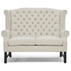 Sussex High Wingback Loveseat - Nail Heads, Light Beige Linen - WI-BH-63102-LS-BEIGE