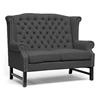 Sussex High Wingback Sofa & Loveseat - Nail Heads, Dark Gray - WI-BH-63102-LS-GRAY-SOFA-SET