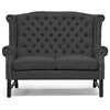 Sussex High Wingback Loveseat - Nail Heads, Dark Gray Linen - WI-BH-63102-LS-GRAY