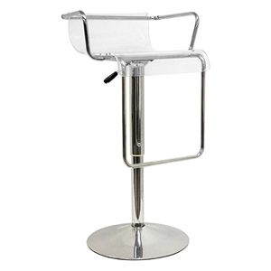 Mezzi Adjustable Swivel Bar Stool - Chrome Armrests