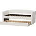 Camino Faux Leather Daybed - Guest Trundle Bed, White - WI-CF8756-WHITE-DAY-BED