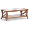 Allison Wood Coffee Table - Honey Brown, Glass Inlay, Lower Shelf - WI-CHW35898-30