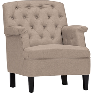 Jester Upholstered Button Tufted Armchair - Beige