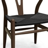 Hans Wegner Style Wishbone Chair - Brown Frame, Black Seat - WI-DC-541-DB-BLACK-SEAT